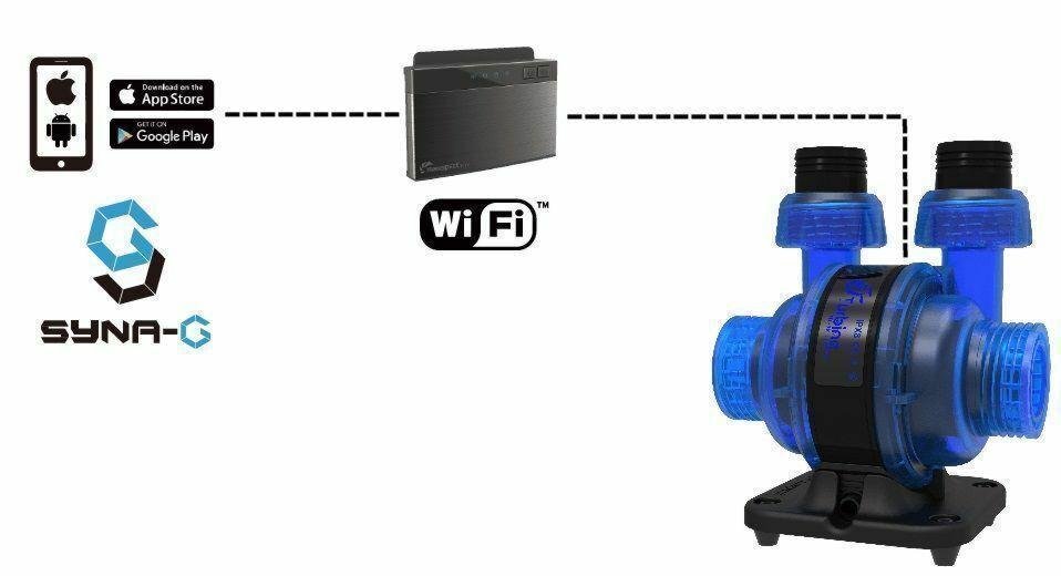 Die Maxspect Turbine Duo Pumpen können über Smartphone oder Tablet und die SYNA-G, iOS- und Android-App, gesteuert werden.  Zu diesem Zweck ist ein optionaler ICV6-Kontroller  erforderlich.